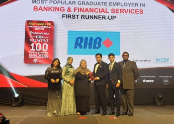 (From left) Putri Nur Ameerah binti Nasir – Senior Brand Attraction Associate, RHB Banking Group, Atiqah binti Jamailudin - Senior Brand Attraction Associate, RHB Banking Group, Khairun Nissa Mohd Khairuddin, Director of Registry and Student Services, INCEIF, Norman Nicholas – Head, Talent Acquisition & Manpower Planning, RHB Banking Group, Aidil Adha Abdul Ghani – Brand Attraction Associate, RHB Banking Group, Noel Anthony - Head, Talent Sourcing and Brand Attraction, RHB Banking Group